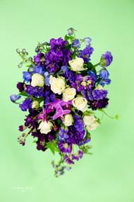 Purple Cascading  Bridesmaid Bouquet