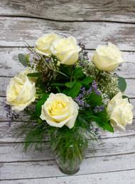 1/2 Dozen Traditional White Roses Vase Arrangement