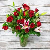 1 Dozen Red Roses and Stargazer Lilies Vase Arrangement