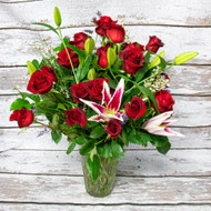 1 Dozen Red Roses and Stargazer Lilies Vase Arrangement