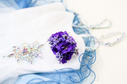 All purple fresh flower  corsage