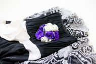 Purple fresh flower corsage with white accents