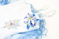 Mixed Blue and white fresh flower corsage