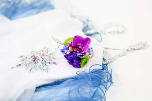 Purple Orchid Corsage with mixed fresh flowers