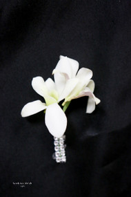 White Orchid, Bling Accent Boutonniere