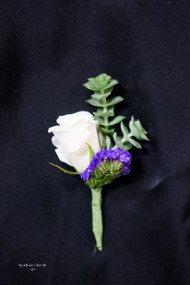 White and Purple Succulent Boutonniere