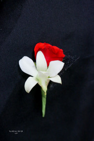 White Orchid, Red Rose Boutonniere