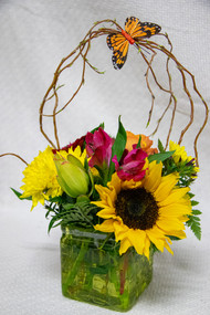 Variety of gathered summer flowers in a cubed vase and a curly willow handle with a butterfly for a finishing touch.