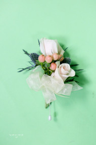 White Rose and Berry Wedding Pin On Corsage
