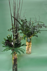 Have fabulous stunning greens, but now we need to add tall vase and what about the lights??  Never enough light!!