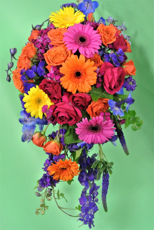Need a bouquet with a little color? Here it is!  Fabulous bright colors of gerberas, asters, delphinium, veronica, roses, statice and so much more for our brides that need a bit of color!