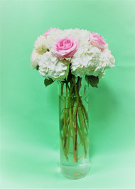 Need a tall centerpiece, hydrangea with pink roses might just be the perfect fit!