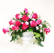 A Bold Bright Pink Garden tribute of Roses and Greens.