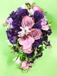 Beautiful Purple Cascading mixed bridal Bouquet