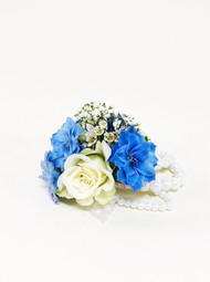 Beautiful Blue and white wrist corsage