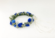 Flower girl need a flower crown? How about blue hybrid delphinium, white waxflower and  baby's breath, perfect for your flower girl.