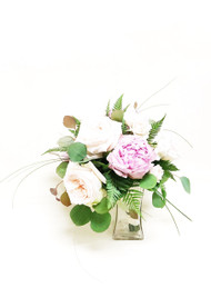 Beautiful White and Pink Bridal Bouquet with simple greens