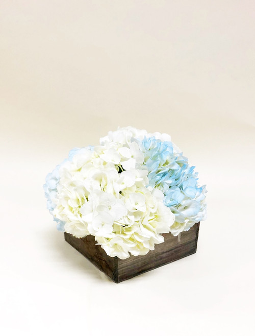 Simple Blue and White Hydrangea Arranged in a rustic box.