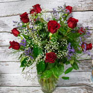 Knock Your Socks Off Dozen Red Roses Vase Arrangement
