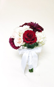 Perfect bridesmaid bouquet of ivory roses, burgundy roses, and fabulous burgundy dahlias, for that dramatic look!