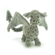 Drake Dragon may look scruffly, but he's soft, not scaly, and loves to make friends! Minty and mossy, this baby dragon has big, big wings and a long, long tail. Bob him up and down in the air to make him flap, all ready to zoom! (Then give that squidgy snout a tickle - he loves that!)