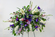 Mixed flower vibrant colors Horizontal Sympathy Spray Sympathy Piece.