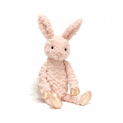 Dainty Bunny is candyfloss-cute in ruffled, tousled milkshake fur. This shy pink bunny wants to be a ballet dancer, and wears shiny rose-gold shoes and mittens! With perky ears and long arms for hugging, this gentle bunny is a loyal, loving friend.