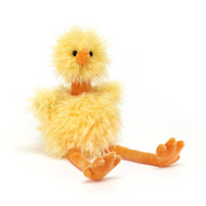 Bonbon Chick is full of fluff and flapping! With long orange legs and a fine stand-up neck, a squidgy beak and wonderful webbed feet, this hatchling is so happy! Tufty and punky in yolky yellow fluff, Bonbon Chick is such a sunny silly! Head down to the coop and say hello!