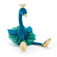 Fancy Peacock lives up to that name, with glorious bluey-green velvety fur. This beautiful peacock is a keen ballet dancer, and has put on a very fine mossy mesh tutu. With a squishy gold crown and gold satin shoes, this leggy bird is ready to leap!