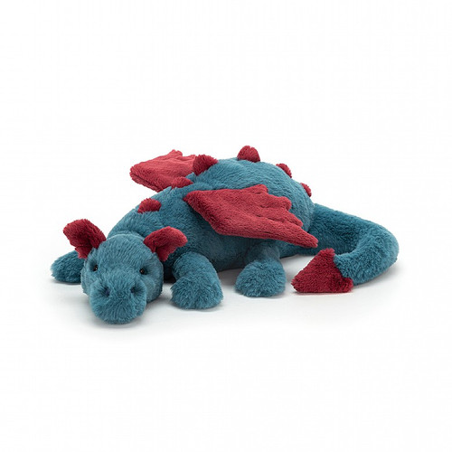 Most dragons are fiery, but Dexter Dragon is flopsy! No scales for this scamp - just snugglesoft fur in chalky blue and warm maroon red. Gorgeously detailed with soft horns, stitched wings, a pointy tail tip and knobbly spines, this dreamy dragon gives monster hugs!