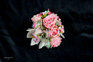 Mixed pink accent flowers, roses and succulents with a bit of sparkle!