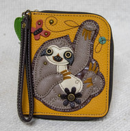 "Stylish, Fun, Functional  The front is adorned with the cute sloth character Lots of slots for your cards and cash One clear slot for photo ID Back zipper pocket for coins and other small items  Materials: Faux Leather Color: Yellow Dimensions: 5"" x 6"" x 1"""