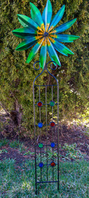 Beautiful Green & Blue Small Garden spinner brings dynamic life to any garden!