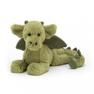 Monty Dragon is so, so sleepy - he's flown for hundreds of miles! Flopsy and mossy in yummy two-tone green. this dreamy dragon is sprawled right out. With suedey wings, horns, spines and tail-tip, waggly ears and the softest, sweetest fur, Monty's a fabulo