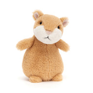 Happy Cinnamon Hamster is a squat little sweetie who loves to scrabble! Squashy-silly in ginger and cream, this curious hamster has the neatest perky ears. A tubby treasure to take everywhere with you.