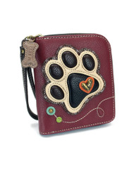 Paw Print Zip Around Wallet