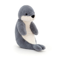 Bashful Seal is a shy little pup and loves to be cradled and held. Bluey-grey with a soft cloudy tummy, this gentle seal loves swimming and frost-bathing. One flip of those squidgy, stitch flippers and splash - away into the ocean!
