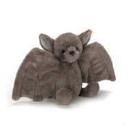 Bashful Bat loves to swoop and flutter, with wonderful wings in soft mushroom fur. This fancy bat gives excellent hugs, and wraps up pals in a fuzzy embrace. We love those adorable suedey ears, bright, shiny eyes and stitched snub nose