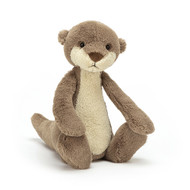 Bashful Otter is a charismatic scamp, full of wriggly jiggles and cheeky charm! This river pal is biscuity-sweet with a long, creamy tum, chocolate-drop nose and neat wee ears. Strong, soft paws and a squashy tail help Bashful Otter swim and steer!