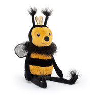 Buzzy boss Queen Bee is the diva of the hive! This stripey star has black and yellow fur, a fluffy ruff and a shimmering gold crown. With gauzy wings, perky antennae and a black bobble nose, she's always in charge!