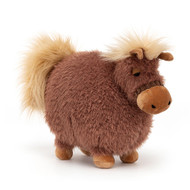 Huggable hoofer Rolbie Pony is a tousled, tubby cutie. Cocoa-scrumptious in scruffly fur, this roly-poly pony has silky mane and tail and velvety biscuit nose, ears and feet. A gentle pal who prefers not to trot!