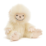 What a goofy, toofy smile! Yani Yeti goes roaming through the snow, the frosty wind blustering that creamy fluffy fur! With knobbly peachy fingers and toes and soft suedey fangs, this affable pal is abominably cute!