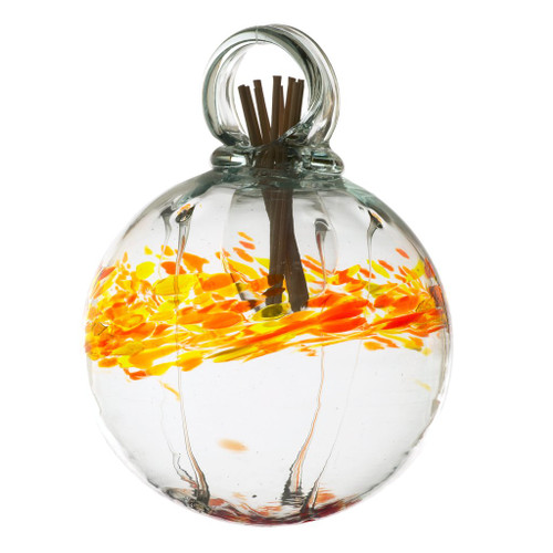 Set the mood with an inspired, affordable gift that can be used anywhere in the home. Fill the air with fragrance using these stylish, low maintenance, handblown glass diffusers. An effortless way to scent any room. Comes with natural diffuser reeds and one ounce of starter oil.  This is a hanging product.  Scent: Cranberry Pear
