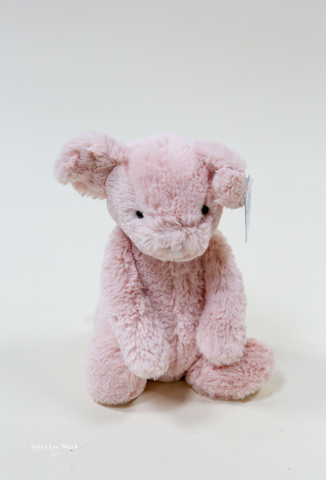 Bashful Piggy Jr brought to you by Jelly Cat, the best plush animals for kids babies and all around.