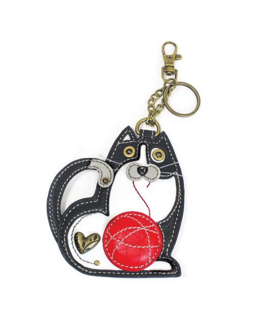 Conveniently small, fun, and functional. Hold your keys with style!  Cute keychain with detailed stitching and metal button studs Textured faux leather trim An antique bronze details on the body Materials used: Faux Leather