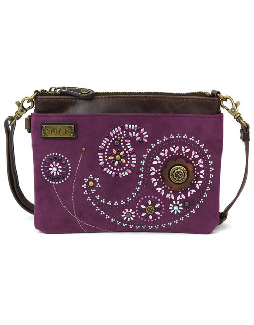 Stylish, compact, versatile Adorned with dazzling faux leather Paisley design Adjustable shoulder strap 1 Internal Zippered Compartment 1 External Zippered Compartment Multiple Credit Cards Pockets Patterned fabric lining Features antique, brass toned hardware
