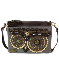 Stylish, compact, versatile Adorned with dazzling faux leather Owl design Adjustable shoulder strap 1 Internal Zippered Compartment 1 External Zippered Compartment Multiple Credit Cards Pockets Patterned fabric lining Features antique, brass toned hardware