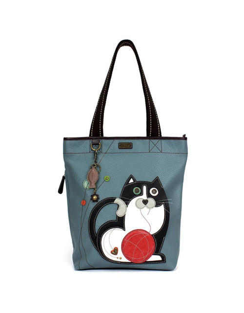 Fat Cat is also a convenient pocket Comes with a cute fish keychain as shown Detailed stitching  Large top zipper closure Zippered side pocket Patterned fabric lining with inner slide and zipper pockets Wide, comfortable shoulder straps
