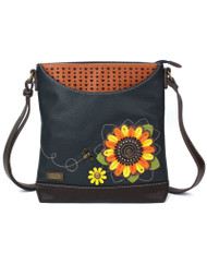 Features Sunflower with stitched pattern Front slide pocket Zippered main pocket Miniature heart pattern Rear slide pocket
