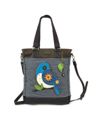 Cute Blue Bird adorns the front! Huge front and rear slide pockets with magnetic snaps Top zipper closure Spacious interior ideal for books and tablets Comes with cute leaf keychain as shown Extra shoulder strap converts tote into crossbody bag!